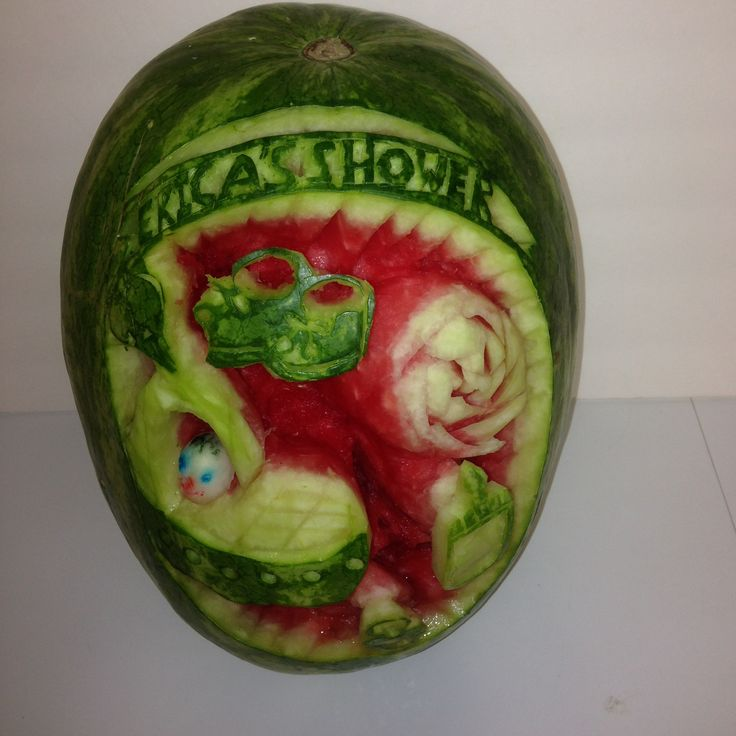 Carved watermelon for baby shower glorious creations