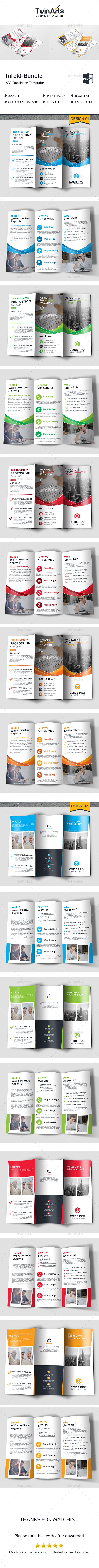 Trifold Brochures Print Template PSD Bundle