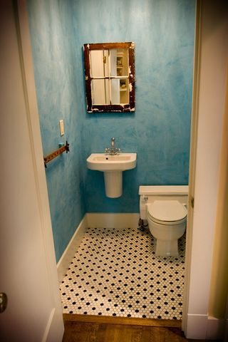 So here is what the bathroom looked like before  And here is what it looks  like now  The towel bar in a vintage yardstick. 1000  images about wall painting techniques on Pinterest   Tissue