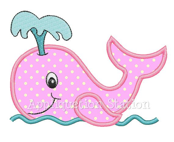 Whale Applique Machine Embroidery Design by AppliquetionStation