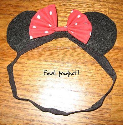 diy kinda girl: Minnie Mouse ears for baby tutorial