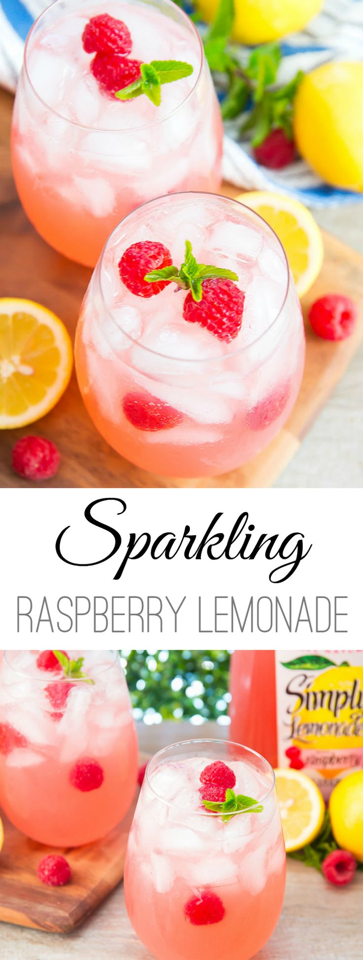 Sparkling Raspberry Lemonade Cocktails make an easy and refreshing summer drink #ad