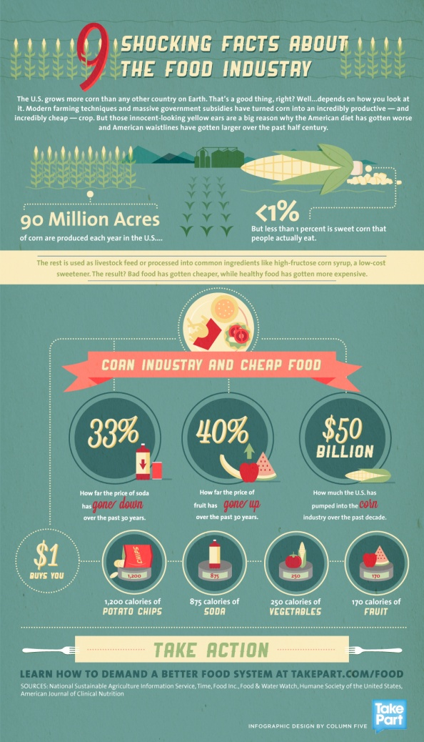 9 Shocking Facts About the Food Industry #Infographic  Plus, the vast majority of corn grown in the U.S. is now genetically modified. Those GMO corn crops are sprayed with highly toxic, health harmful, pesticides that pollute air and water! Americans may essentially be paying for the GMO/pesticide industry's toxic products with both tax dollars and health.