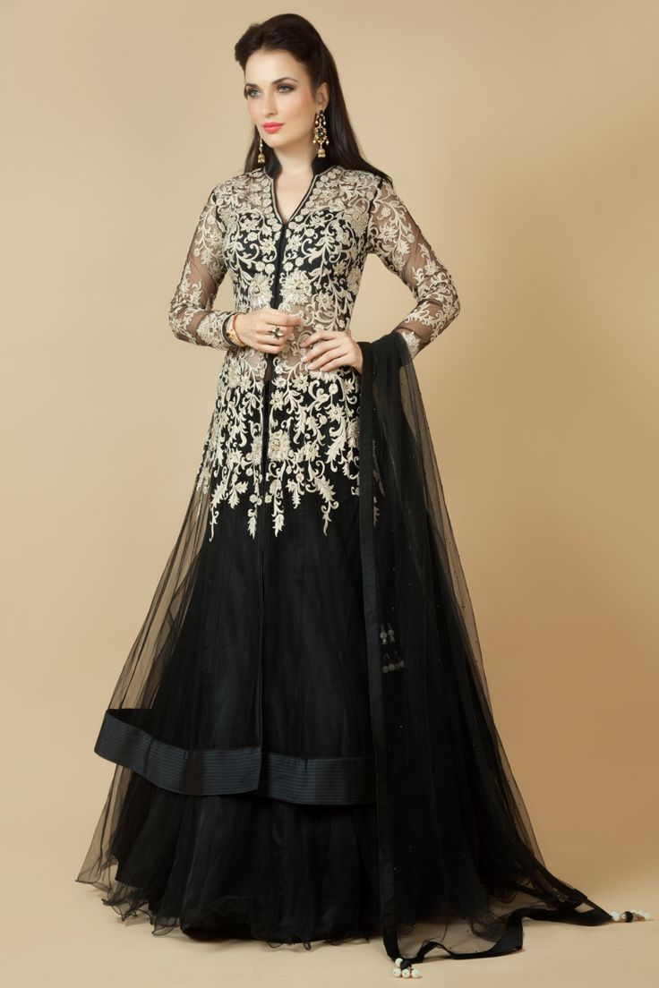 Net Jacket ghagra and dupatta embellished with thread work. Item number W15-135