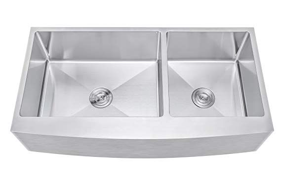 42 Inch 60 40 Offset Double Bowl Farmhouse Apron Front Stainless Steel Kitchen Sink 15mm Radius Co Sink Kitchen Sink Apron Front Stainless Steel Kitchen Sink