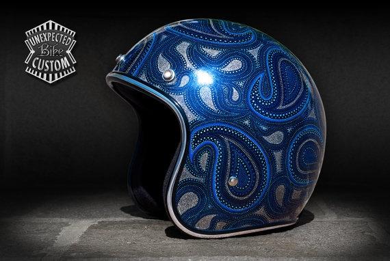 Open face helmet Paisley n1 by UnexpectedCustom on Etsy, €640.00