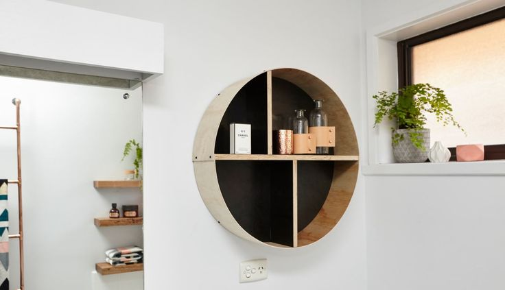 New shelves are a great way to add a touch of style and create more storage space. We'll show you the tools you need and the simple steps to build this floating hoop shelf.#bathroom #floating #hoop #shelf #decor #homedecor