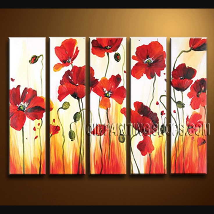 Large Contemporary Wall Art High Quality Oil Painting For Living Room Poppy Flower. This 5 panels canvas wall art is hand painted by Bo Yi Art Studio, instock - $158. To see more, visit OilPaintingShops.com