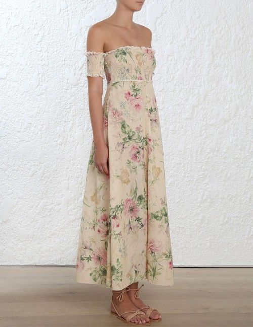 28aa72864728 Zimmermann Iris Shirred Bodice Long Dress. Model Image. Fits true to size  take your normal size Our model is 5 9 5 178 cm bust size 32C …