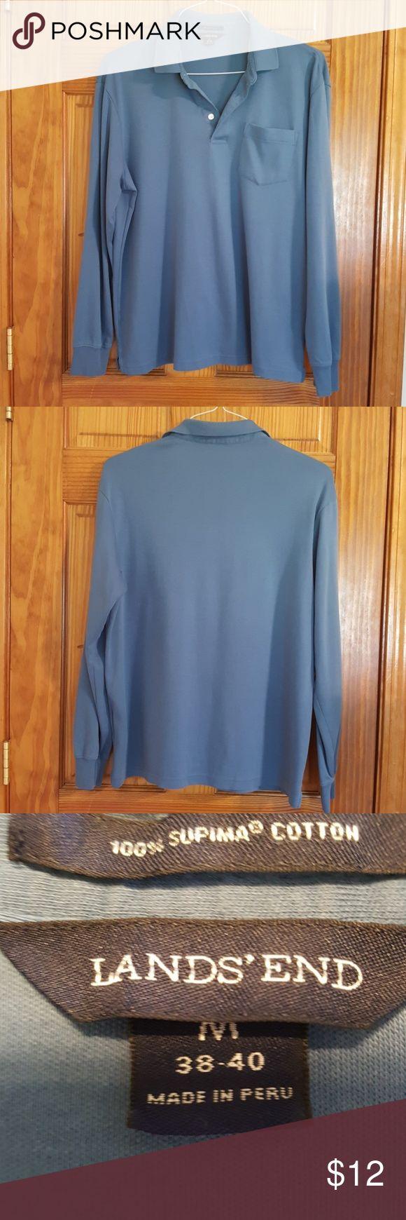 Land's End Long Sleeve Polo shirt Lands  Long Sleeve Polo shirt slate blue Lands' End Shirts Polos
