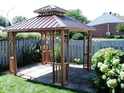 Abris soleil en bois de c dre 10x10 gazebo pinterest for Abri soleil mural toit rigide