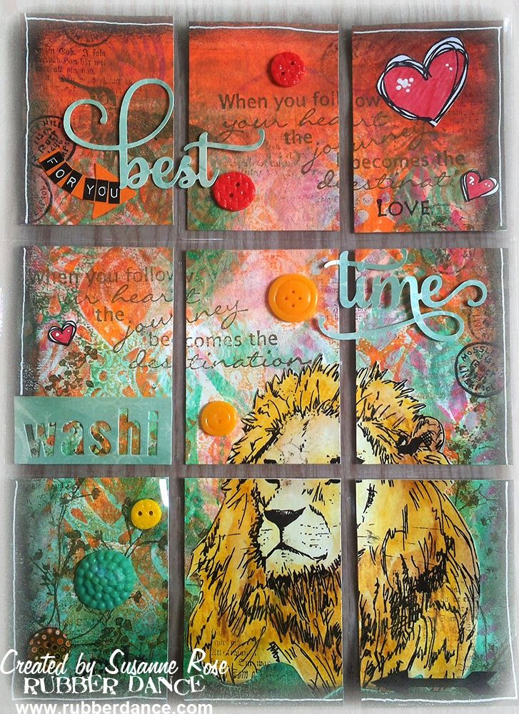 Mixed media Pocket Letter by Susanne Rose. Stamps from Rubber Dance on a gelli printed background. www.rubberdance.com  You can find the video tutorial here https://youtu.be/Y1UqF5K_DXY