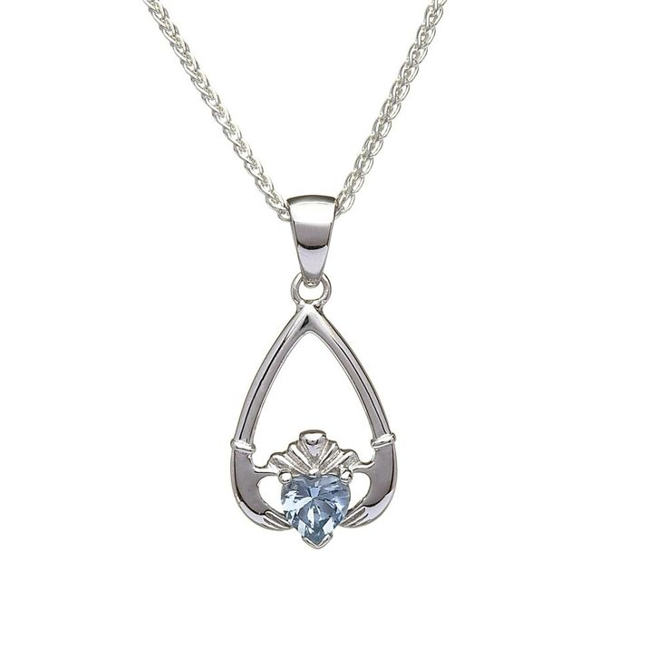 March Birthstone Claddagh Pendant - Claddagh Birthstone Jewelry - Rings from Ireland