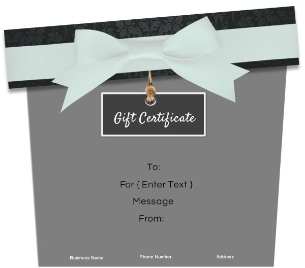 Gift Shaped Gift Certificates. Customize Online.Free Instant Download!