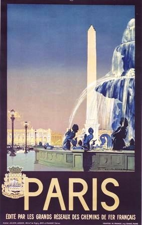 A strong use of Art Deco inspired design and colour. The chromolithographers of this era used colour so well in these posters.
