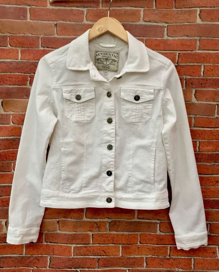 Next womans Jacket Authentic Apparel Since 1982  Uk 14 White denim style stretch