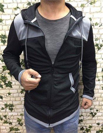 Erkek kappşonlu fermuarlı siyah sweatshirt modellerini en ucuz fiyatlarıyla kapıda ödeme ve taksit ile Outlet Çarşım'dan satın al.