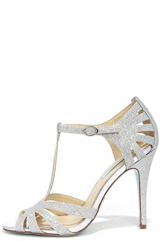 Blue by Betsey Johnson Tee Silver Glitter Dress Sandals
