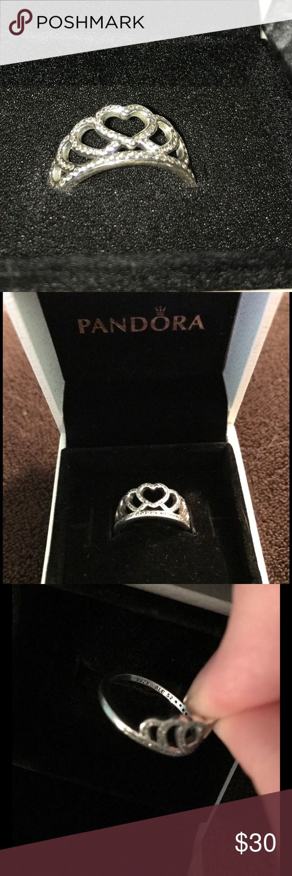 Pandora hearts tiara ring New. Bought from another posher and realized I got the wrong size.  Comes in pandora box Pandora Jewelry Rings