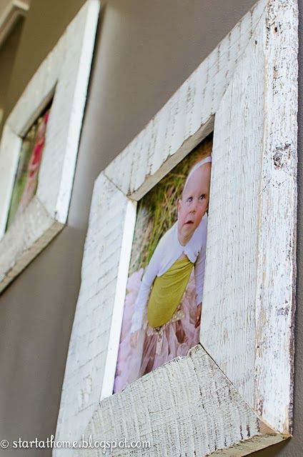 Picture frames made from reclaimed pallet wood