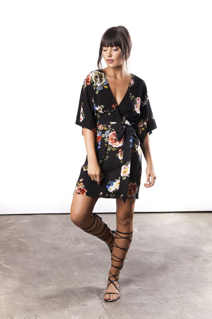 Floral Kimono Dress & lace up sandals. Lovely, fresh, and a little bit boho.