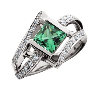 Spectrum of Color Green Tourmaline ring in 14kt white gold with diamonds.