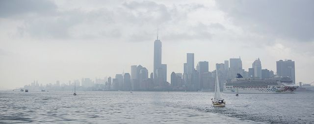 Panorama of New York City from New York Harbor on a Rainy Day