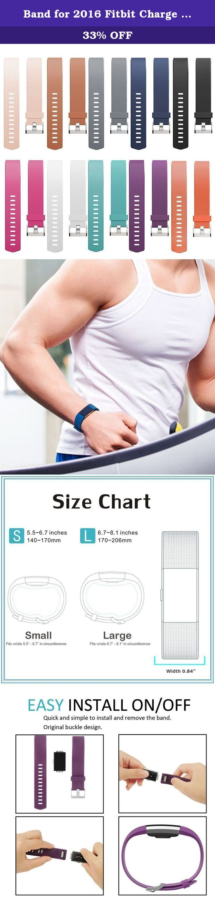 """Band for 2016 Fitbit Charge 2 HR, Accessories Replacement Sport Fitness Band for Fitbit Charge 2, Pack of 10 (Small( 5.5""""-6.7"""" )). Product Description This Fitbit Charge 2 accessories - Classic replacement band is beautiful, casual and comfortable This Charge 2 interchangeable bands are small and large size available, Size S Small 5.5""""-6.7"""", Size L Large 6.7""""-8.1"""" More color choices than original Charge 2 fitness wristband and makes your new Fitbit Charge 2 HR a new look Great Fitbit…"""
