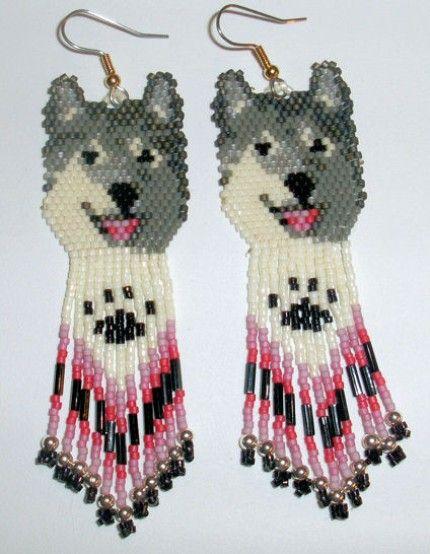 Native American Beaded Earrings | Native American Beaded Earrings Wolf Design One | jstinson - Jewelry ...