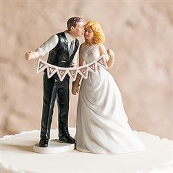 Shabby Chic Bride And Groom Wedding Cake Topper With Pennant Sign