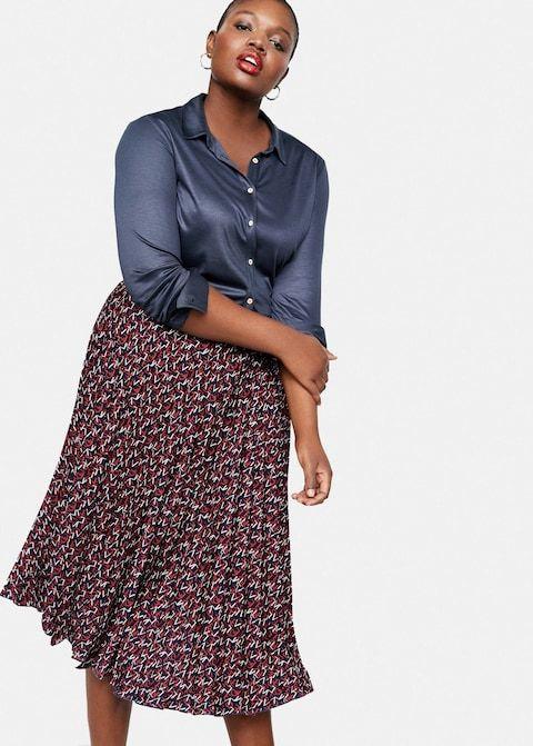 22813d6e95c4 Φούστα πλισέ εμπριμέ - Φούστες Μεγάλα μεγέθη