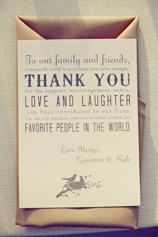 """Personalize this """"thank you"""" note by including the guest's names at the top too turn this into a place card. Very sweet idea !"""