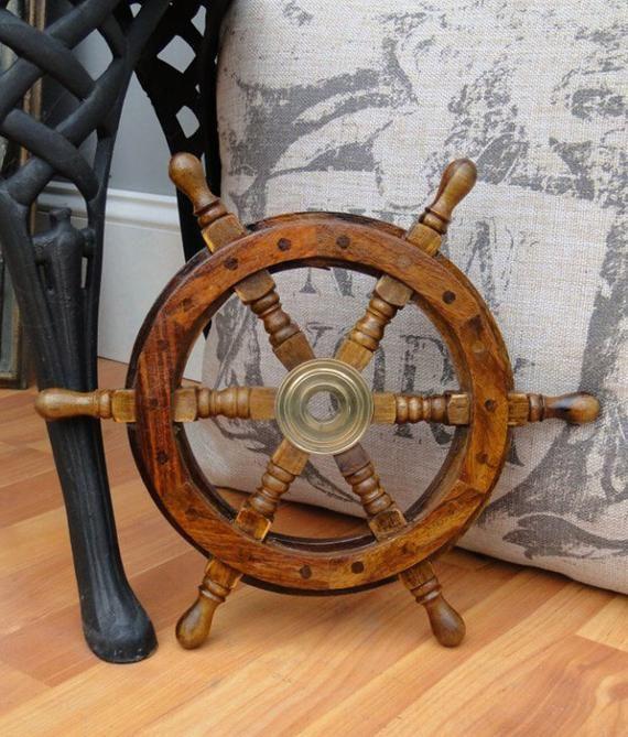 36 Inch Big Ship Steering Wheel Wooden Antique Teak Brass Nautical Pirate Ship/'s