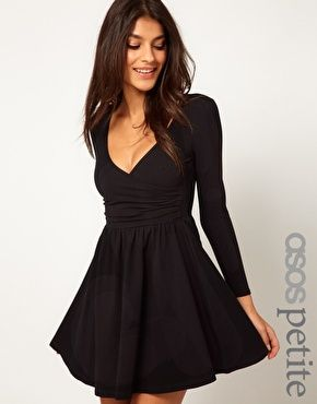 d0f51c198f PETITE Exclusive Long Sleeve Skater Dress With Ballet Wrap