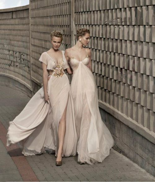 galia lahav. NUDE WITH A TOUCH OF ASHES OF ROSES....I wish I was invited to this party and had one of those dresses...