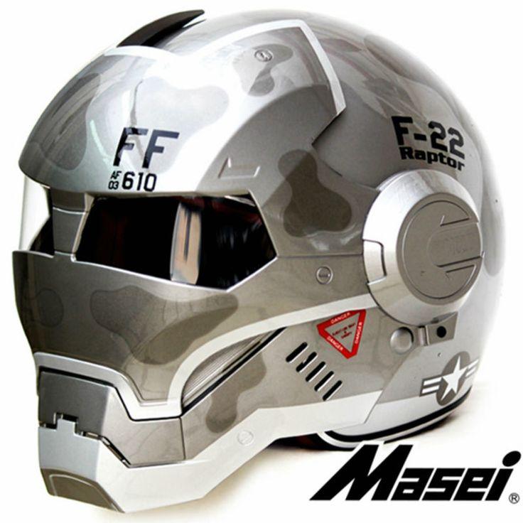 ABS Grey F22 MASEI IRONMAN Iron Man motorcycle helmet  Moto bike helmet personality special retro half helmet open face helmet