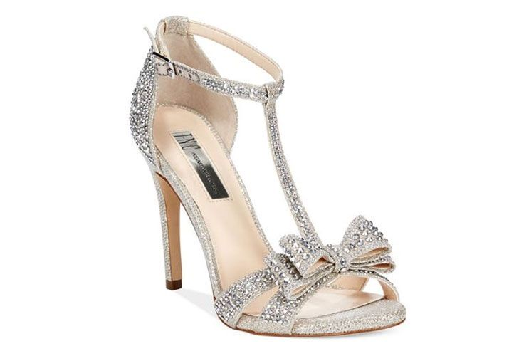 INC International silver dress sandals with bow and t-strap