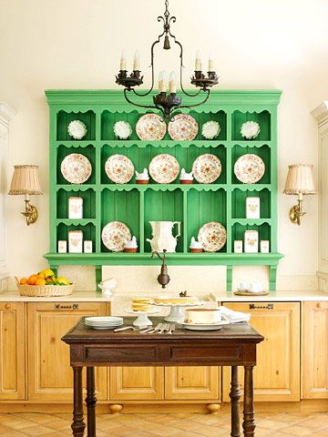 kelly green: Decor, Kitchens, Dining Rooms, Ideas, China Cabinets, Colors, Green, Shelves, Plates Racks