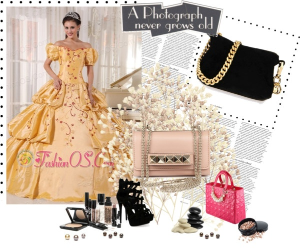 """""""Popular Gold Quinceanera Dress Off The Shoulder Taffeta Embroidery Ball Gown"""" by fancydressesforyou ❤ liked on Polyvore"""