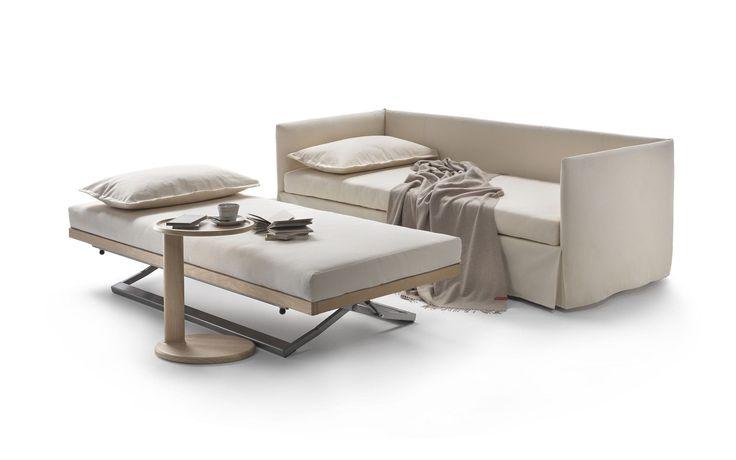 Sofá cama / moderno / de cuero / de tela - TWINS by Giulio Manzoni - FLEXFORM