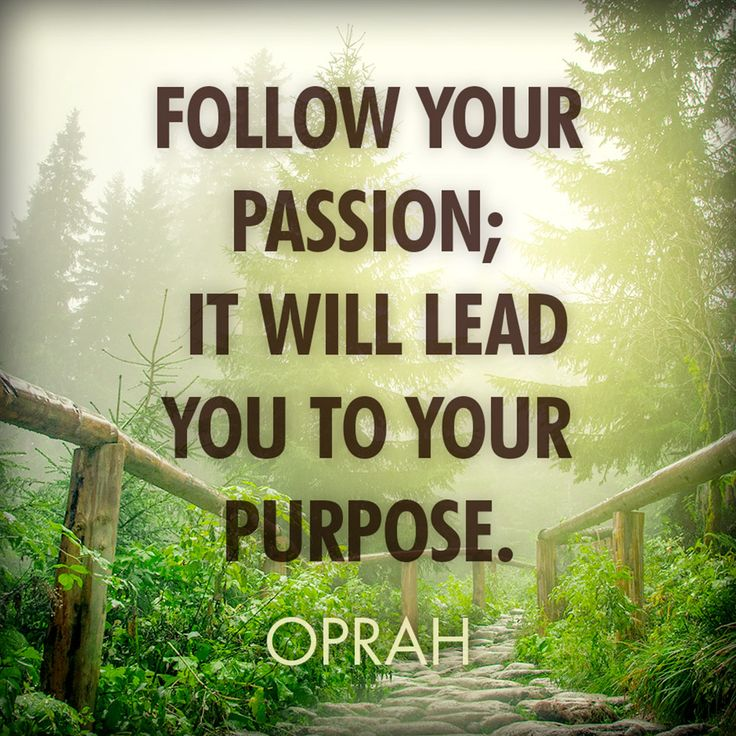 Follow your passion; it will lead you to your purpose.  - Oprah Winfrey