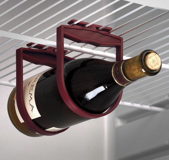 Refrigerator Wine Holder.  Cool organizer for keeping wine in your fridge without it rolling around or taking up a lot of shelf space.