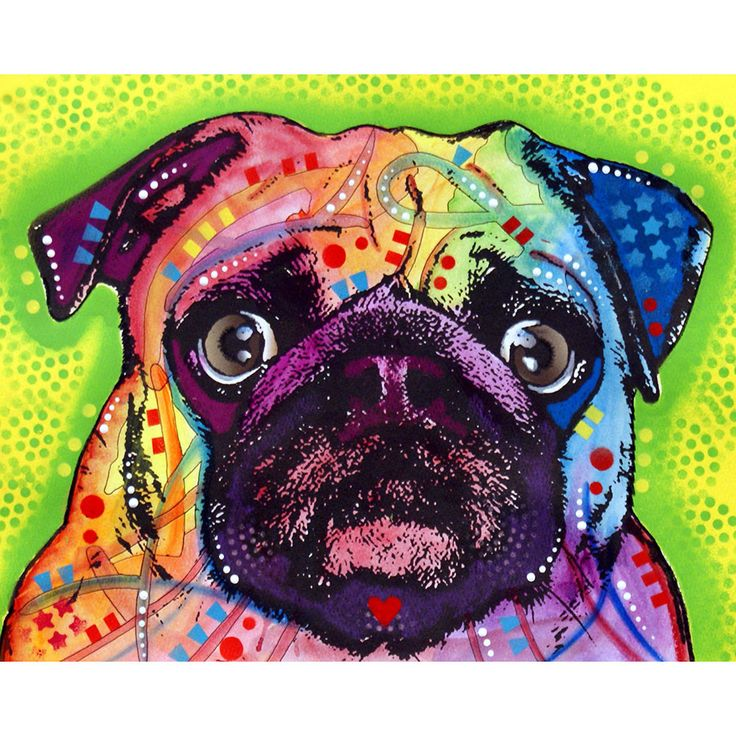 This Pug dog graphic was created by artist Dean Russo and made into a wall decal sticker by My Wonderful Walls. Animal pop art available in multiple sizes.
