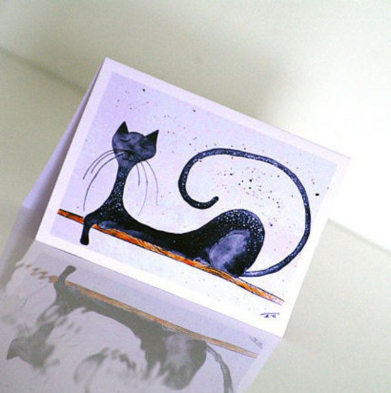 Funny birthday card for him Cat birthday card Cat by artbyasta