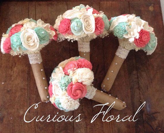 Ready To Ship-  Ivory Mint Coral Rustic Wedding Bouquet, Bridal Bouquet, Keepsake Bouquet, Sola Flower, Wedding Flowers, Rustic Wedding on Etsy, $80.00