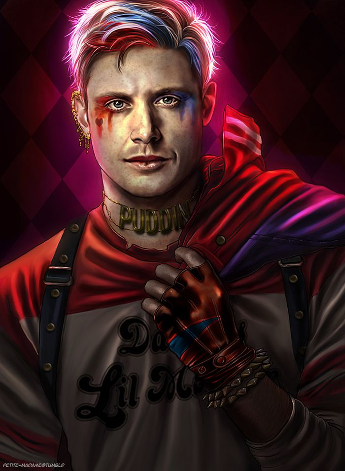 Jensen Ackles as Harley Quinn! CREDITS by Petite Madame #Supernatural fanart Spn + Marvel or DC fusions/AUs/Crossovers.