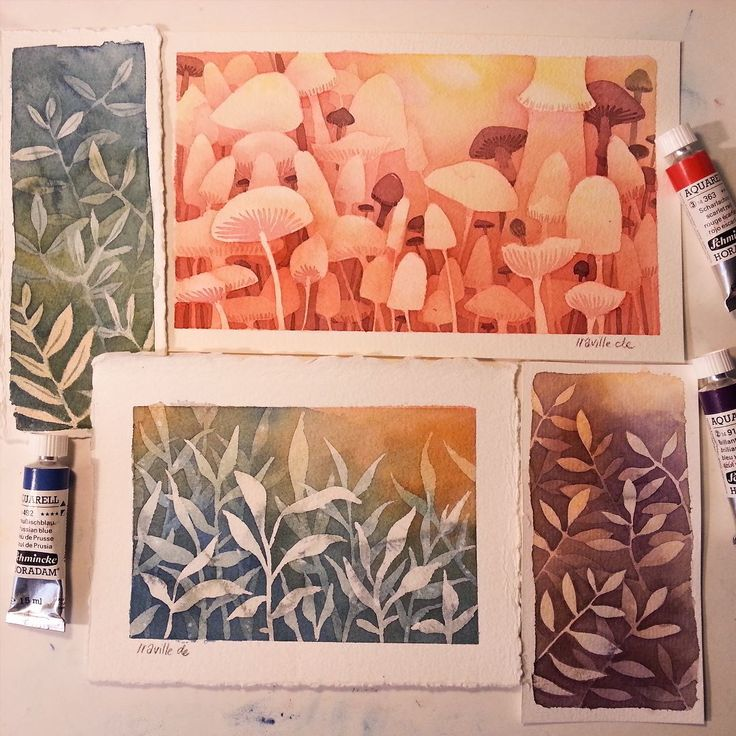 Some negative painting practices I did randomly without predrawing on different…