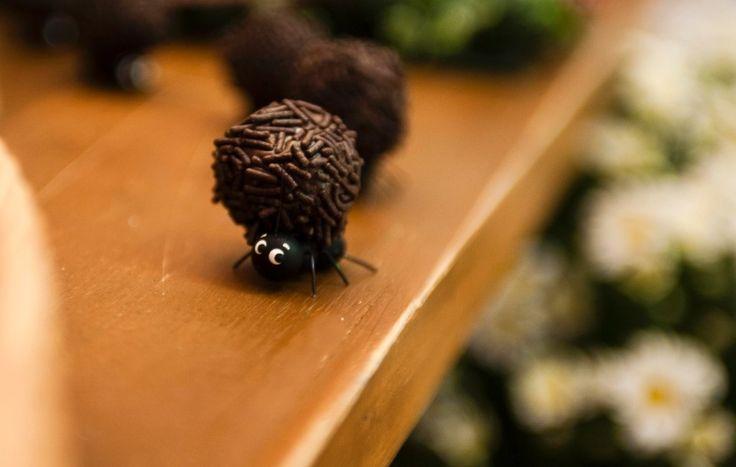 Formigas nunca ficam de fora dos piqueniques. Na festa decorada por Danieli Moraes, elas são feitas de biscuit e servem de suporte para brigadeiros de verdade. Para enfeitar a mesa, elas foram colocadas em fileira, como se estivessem roubando os docinhos. A criação é de Cris Ubara, do Ateliê Mãos à Arte (facebook.com/crisubarabiscuit)