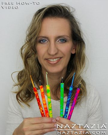 Free YouTube Video - How To Make Easy Polymer Clay Covered Crochet Hooks and Pens by Naztazia