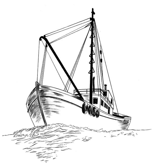 Fishing Boat, Fishing Boat Sketch Coloring Pages: Fishing
